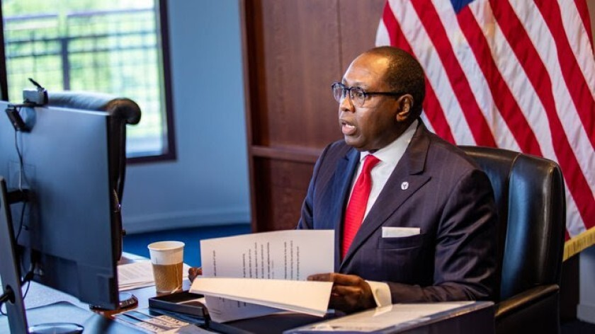 NCUA Chairman Rodney Hood, pictured here during virtual testimony before the Senate Banking Committee earlier this year.