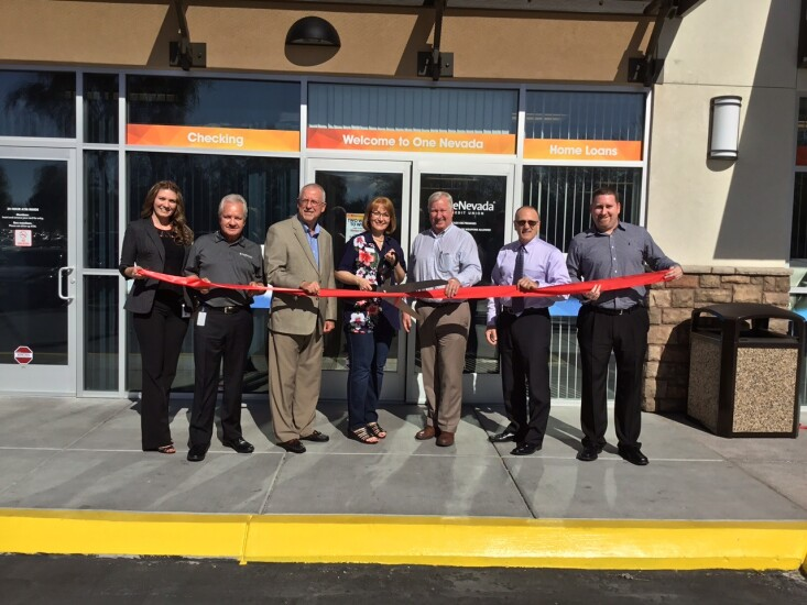 One Nevada Credit Union's senior management poses for a photo during a ribbon-cutting ceremony at the CU's N. Decatur branch in Las Vegas.