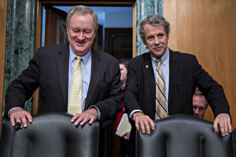 Sen. Mike Crapo, chairman of the Senate Banking Committee, and ranking member Sen. Sherrod Brown.