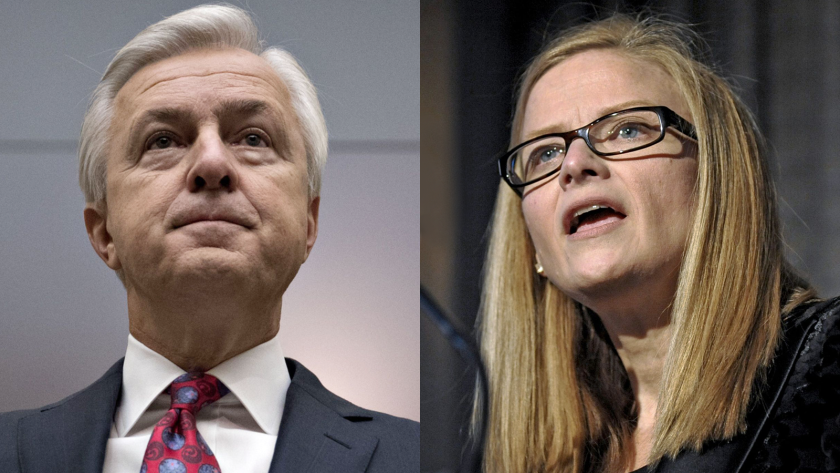 Former Wells Fargo CEO John Stumpf, left, agreed to a lifetime ban from the banking industry earlier this year. Carrie Tolstedt, the former head of community banking, faces a $25 million fine from regulators.