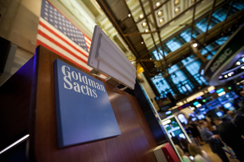 Goldman Sachs signage displayed on the floor of the New York Stock Exchange May 30, 2017 Bloomberg News