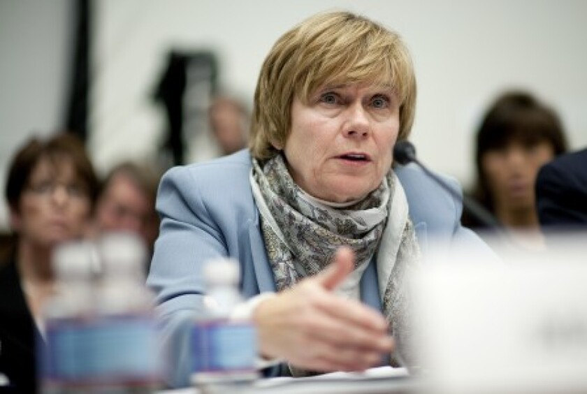 "Elizabeth ""Betsy"" Duke, pictured here in 2010 when she was a Federal Reserve governor, had been Wells Fargo's board chair since 2018."