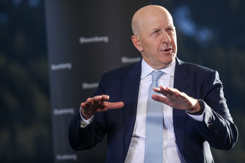 David Solomon, chief executive officer of Goldman Sachs, gestures as he speaks during an interview at the World Economic Forum in Davos, Switzerland, on Jan. 23, 2020.