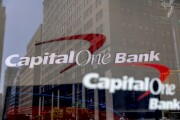 Capital One signage is displayed outside a bank branch in New York.