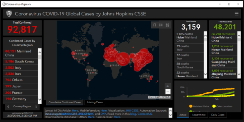 Fake coronovirus map