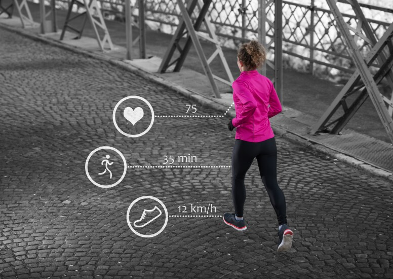 Woman running with data  showing being transmitted
