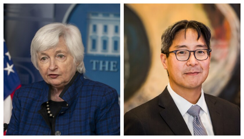 Treasury Secretary Janet Yellen, a former head of the Federal Reserve, appointed Michael Hsu — another ex-official of the central bank — to be acting comptroller of the currency.