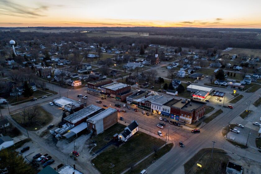 South Main Street in Sheffield, Illinois, which is part of a 136 square mile opportunity zone