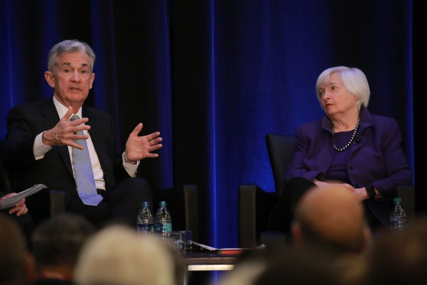 """I don't think … [halting dividends] is appropriate this time,"" said Fed Chair Jerome Powell. But his predecessor, Janet Yellen, said holding on to income gives banks a ""buffer"" to further ""support the credit needs of the economy."""