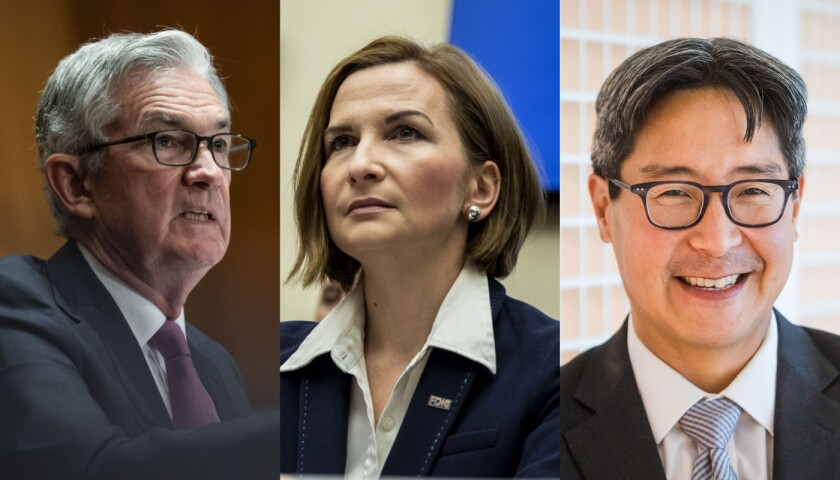Fed Chair Jerome Powell, left, FDIC Chair Jelena McWilliams and acting Comptroller of the Currency Michael Hsu have committed to a joint effort to develop interagency Community Reinvestment Act reforms.