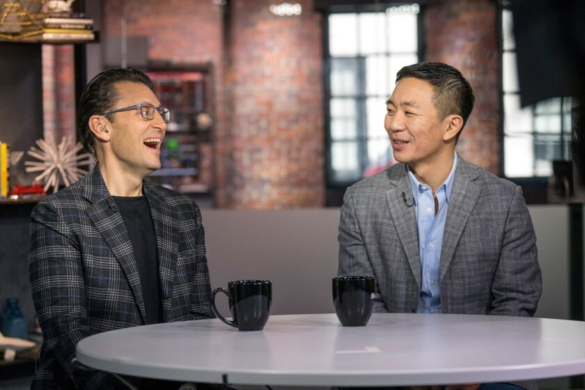 Sasan Goodarzi, left, and Kenneth Lin, co-founder and CEO of Credit Karma, during a Bloomberg Television interview in San Francisco