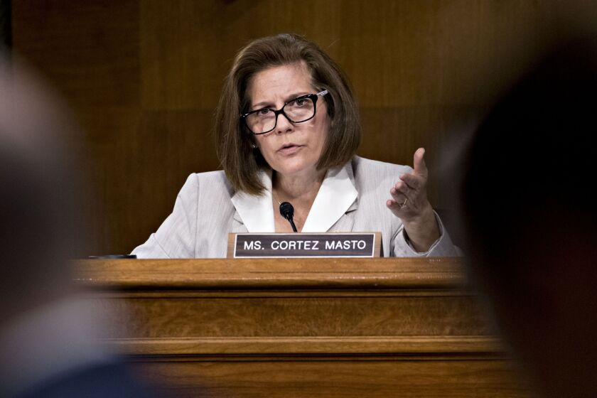 Sen. Catherine Cortez Masto, D-Nev., charged that it was hypocritical for the CFPB to rescind ability-to-repay requirements in the payday lending rule when the agency generally weighs a company's ability to pay a fine when settling enforcement matters with a firm.