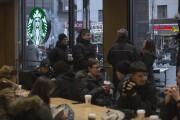 Crowded Starbucks store