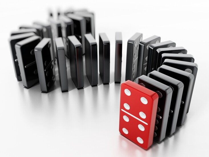 Domino pieces standing in a row. 3D illustration