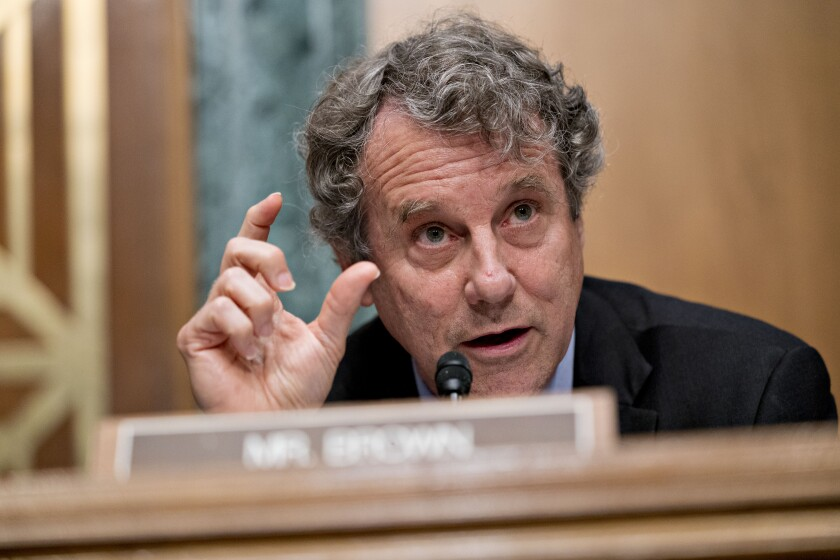 Senator Sherrod Brown, a Democrat from Ohio and ranking member of the Senate Banking Committee.