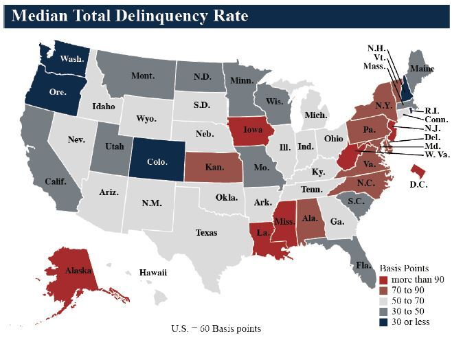 NCUA median delinquency rate Q1 2018 - CUJ 061518.JPG